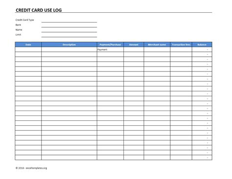 credit card payment log template credit card use log template excel templates excel