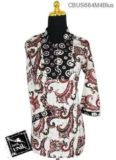 Baju Putih Batik baju batik sarimbit blus pekalongan motif sogan putih blus lengan tanggung murah batikunik