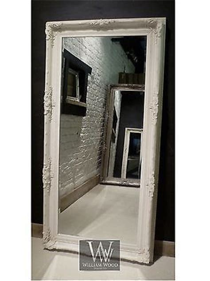 shabby chic floor mirror orleans white shabby chic leaner ornate floor mirror 69 quot x
