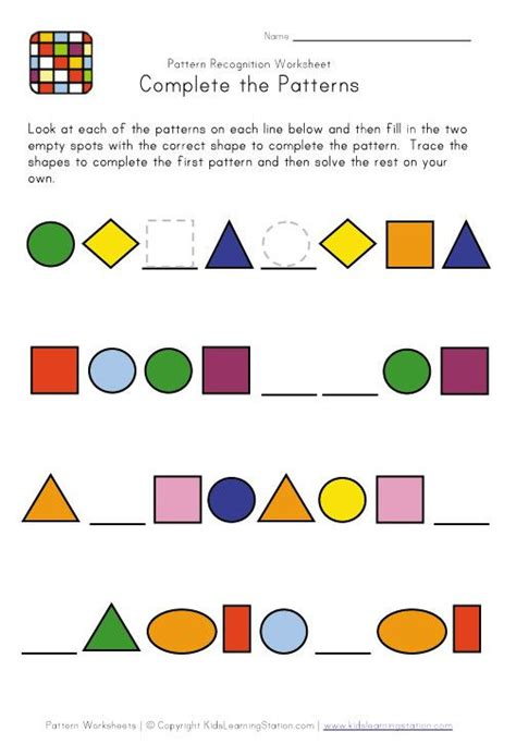 maths shape pattern games 11 best pattern worksheets images on pinterest