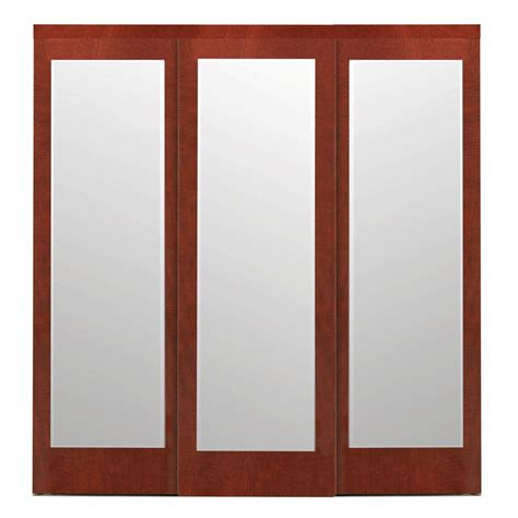 Interior Sliding Closet Doors Impact Plus 108 In X 96 In Mir Mel Cherry Mirror Solid Mdf Interior Closet Sliding Door