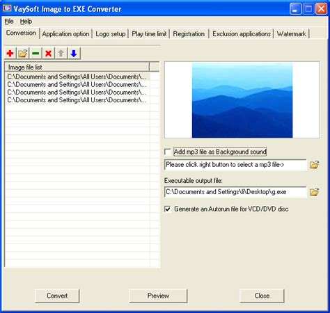 format converter exe vaysoft image to exe converter image2exe image to exe