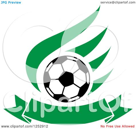 clipart of a soccer ball over a green wing and banner