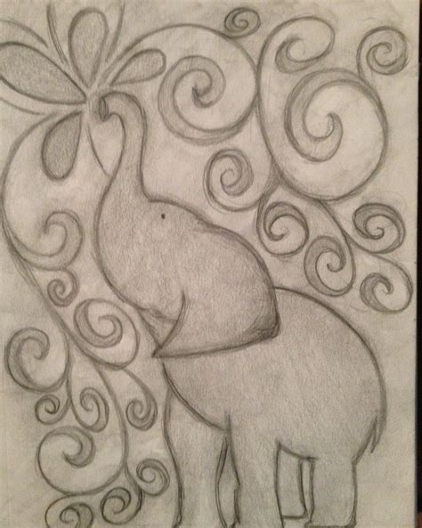 Drawing W Pencil by Inspired Elephant Pencil Drawing Doodly Woodles