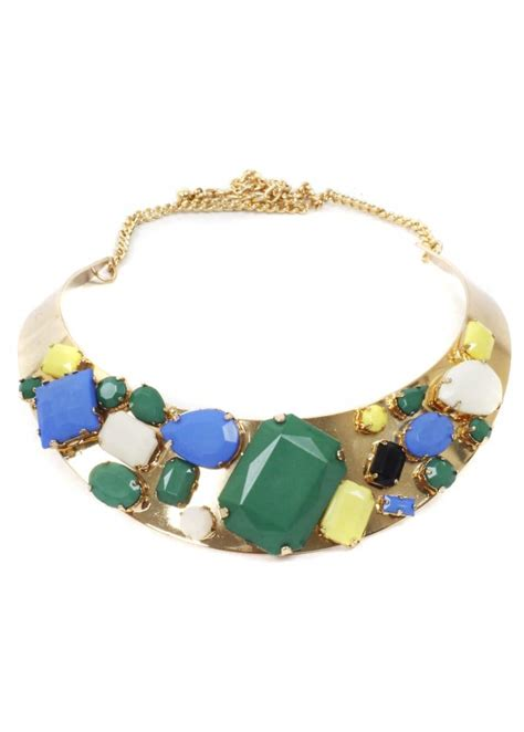 Chunky Gems Metal Collar Necklace gold collar necklace multicoloured necklace