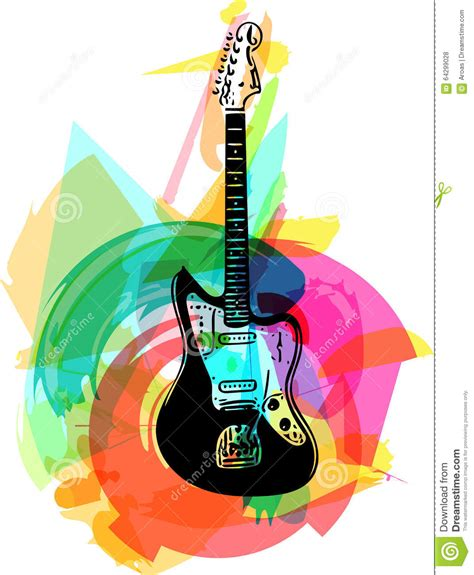 colorful guitar wallpaper colorful electric guitar illustration stock illustration