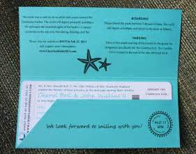 turquoise teal anchor starfish waves yacht boarding pass wedding invitations emdotzee designs