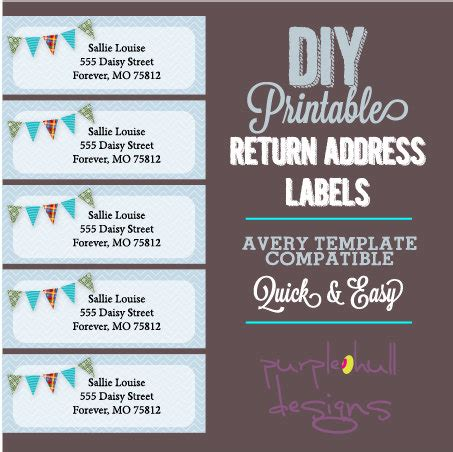 avery return address labels template pennant banner bunting return address labels avery template