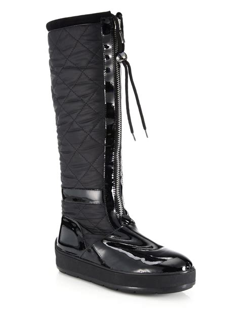 aquatalia kadence quilted patent leather trim boots in