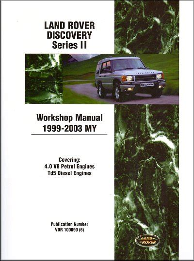 free download parts manuals 2003 land rover discovery on board diagnostic system land rover discovery repair manual 1999 2003 part no vdr 100090