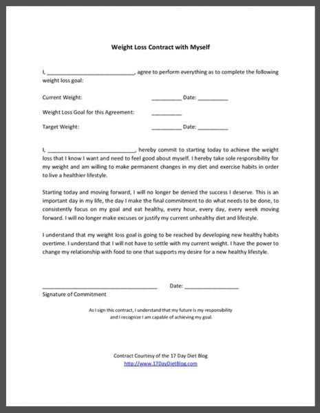 Commitment Letter To Myself weight loss contract with myself 17 day diet
