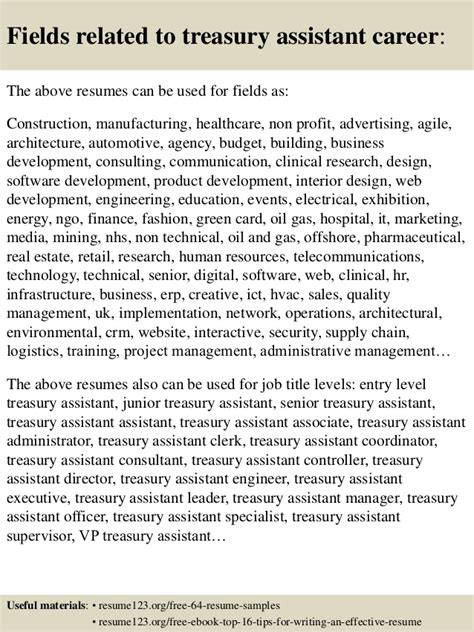 Treasury Assistant Sle Resume by Top 8 Treasury Assistant Resume Sles