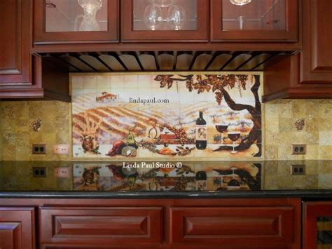 Kitchen Tile Murals Tile Backsplashes The Vineyard Tile Murals Tuscan Wine Tiles Kitchen