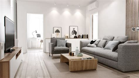 Hardwood Floor Apartment Home Apartment Cool Grey Sofa Design With Modern Wood Coffee Table For Apartment Living Room