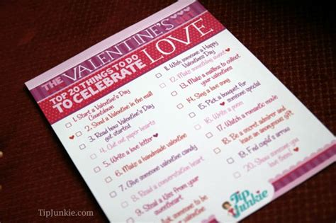 20 things to do for valentines day free printable tip