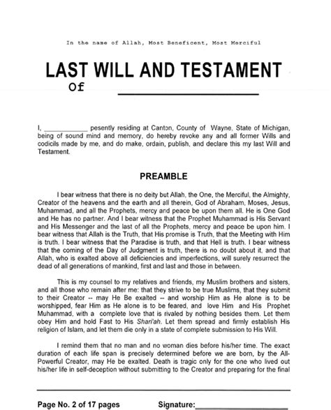 Download Michigan Last Will And Testament Form For Free Page 2 Formtemplate Free Michigan Will Template
