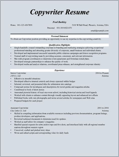 copywriter resume sle for microsoft word doc
