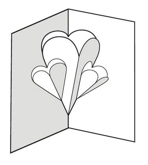 pop up card template for make a pop up card of hearts