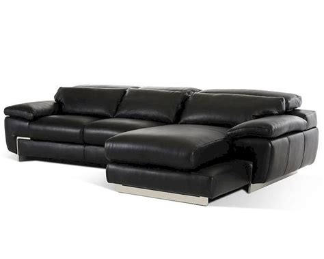 Contemporary Black Full Leather Sectional Sofa 44l5961 Modern Black Sectional Sofa