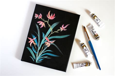 flower painting acrylic  canvas japanese style flower