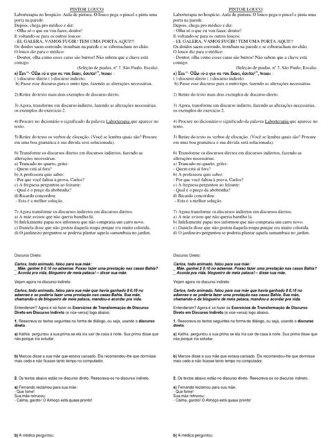 Atividades Discurso Direto e Discurso Indireto Atividades