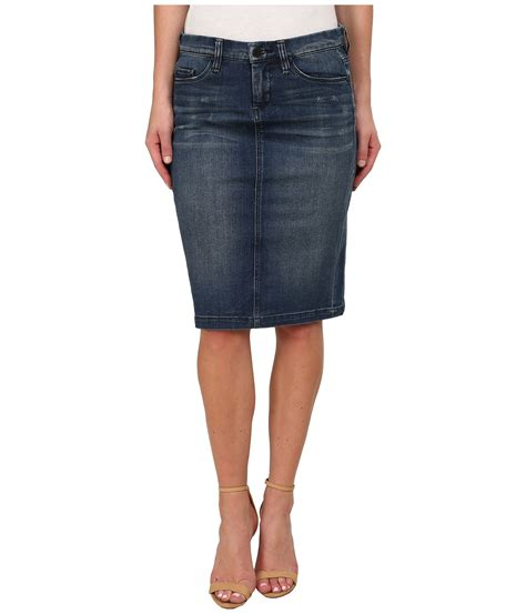 blank denim pencil skirt in blue lyst