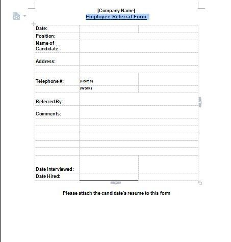 employee referral form employee referral form