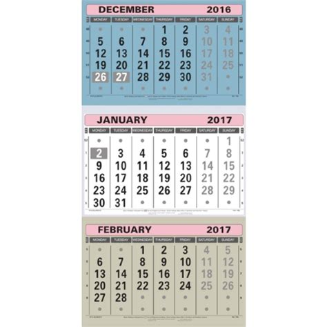 Calendar 3 Month View At A Glance Large Wall Calendar 3 Month To View 2017 Tml