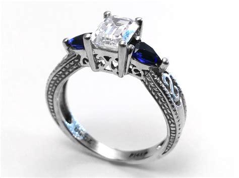 engagement ring emerald cut filigree engagement