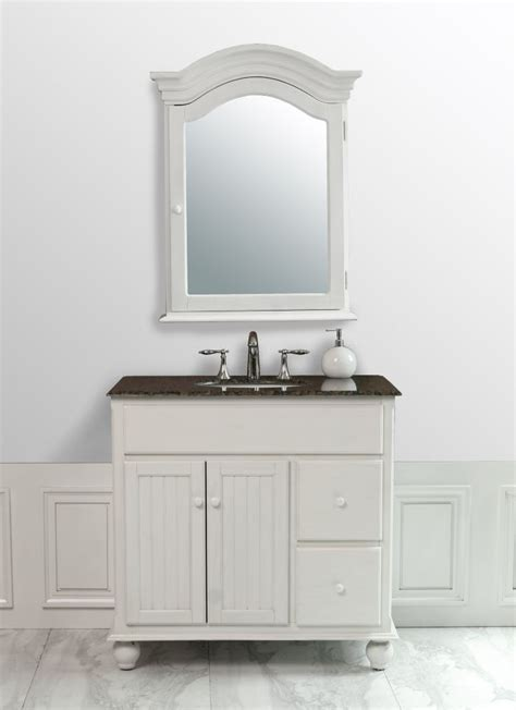 36 In Bathroom Vanity With Top Stufurhome 36 Inches Snow White Single Sink Vanity With Baltic Brown Granite Top And Mirror