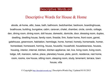 Words To Describe A Cottage descriptive words for house and home descriptive words list of adjectives word reference