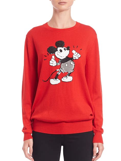 Mickey Katun Sweater Korea Fashion lyst markus lupfer sequined mickey mouse sweater in