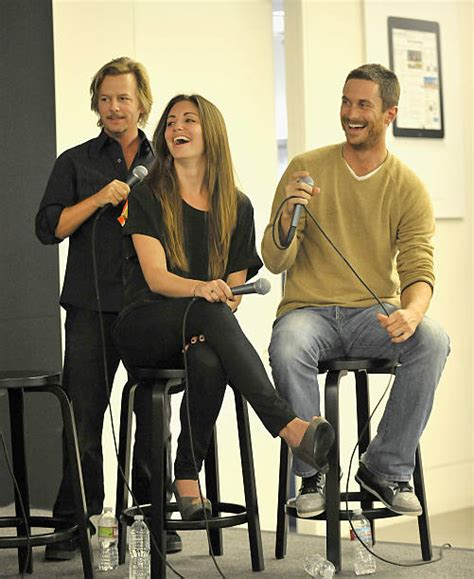oliver hudson and david spade cbs quot rules of engagement quot meet the cast event at the apple