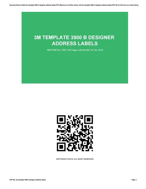 3m Labels 3900 B Template