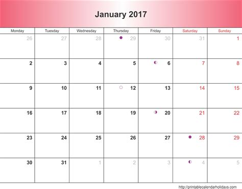2017 Calendar Printable January 2017 Calendar 6 Templates Landscape Printable