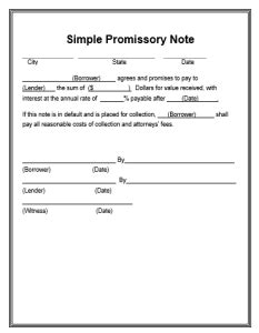 promissory note template  word templates