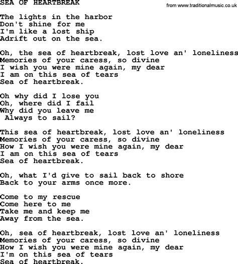 song lyrics of sea of heartbreak by merle haggard lyrics