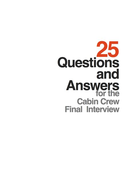 Cabin Crew Questions by 25 Questions And Answers For The Cabin Crew
