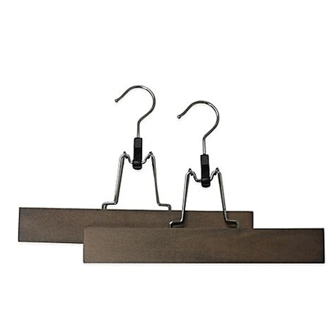 bed bath beyond hangers refined closet 2 pack pant gripper hanger in walnut bed