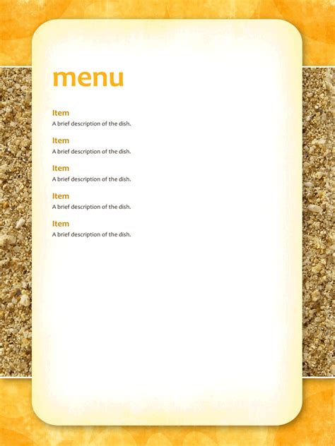 free party menu template docx 1194kb 1 page s