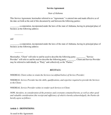 service agreement sample template word