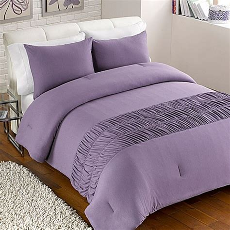 jersey rouched comforter set in purple bed bath beyond