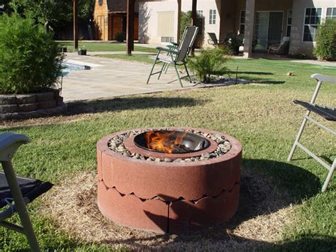 home made firepit 50 pit using concrete tree rings