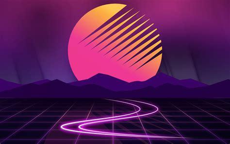 wallpaper moon mountains neon cyberwave outrun hd