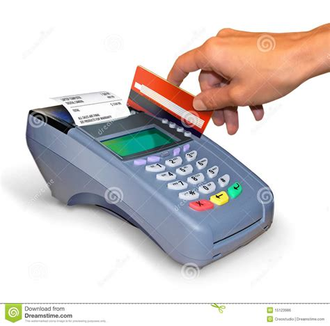 when you make a purchase with a debit card a purchase with credit card reader stock photo