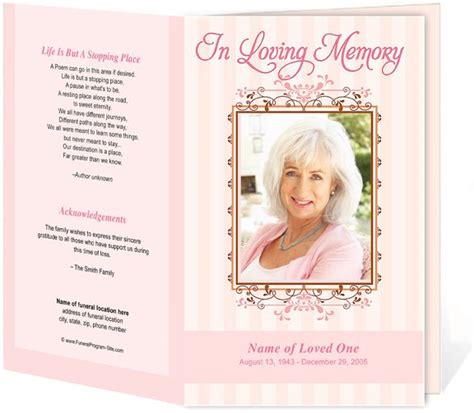 funeral program template word free seraphina preprinted title letter single funeral programs