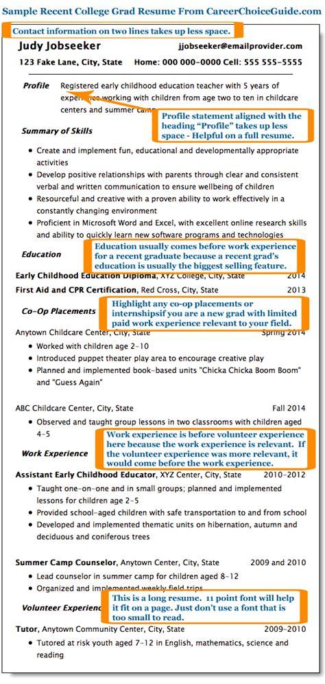 Resume Advice For Recent College Graduates recent college graduate resume