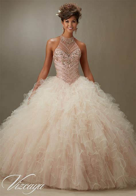 Quinceanera Dresses by Jeweled Beading On A Ruffled Tulle Quinceanera Dress