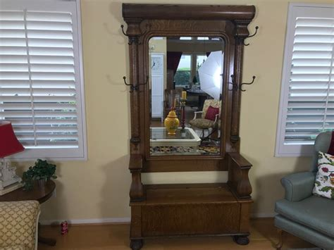 antique oak hall tree with bench and mirror antique tiger oak hall tree with storage bench beveled