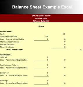 Balance Sheet Template Excel by Balance Sheet Template Free Excel Word Documents